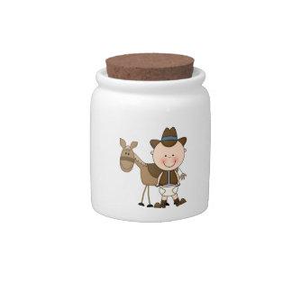 Banco lindo del dinero suelto del vaquero del potr jarra para caramelo