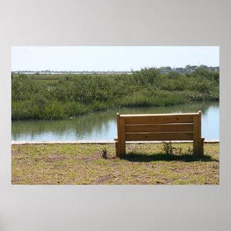 Banco por el río con la hierba y agua impresiones