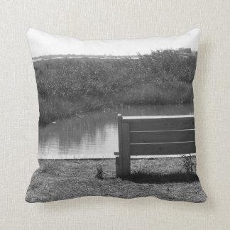 Banco por la imagen blanco y negro del río almohada