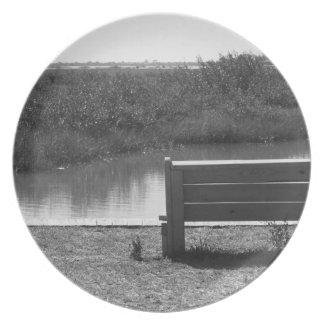 Banco por la imagen blanco y negro del río plato para fiesta