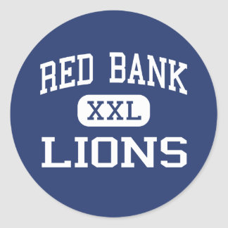 Banco rojo - leones - alto - Chattanooga Tennessee Etiqueta Redonda