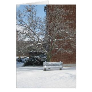 Banco y árbol del invierno en RPI. Tarjeta De Felicitación