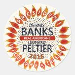 Bancos de Dennis para el presidente 2016 Pegatina Redonda