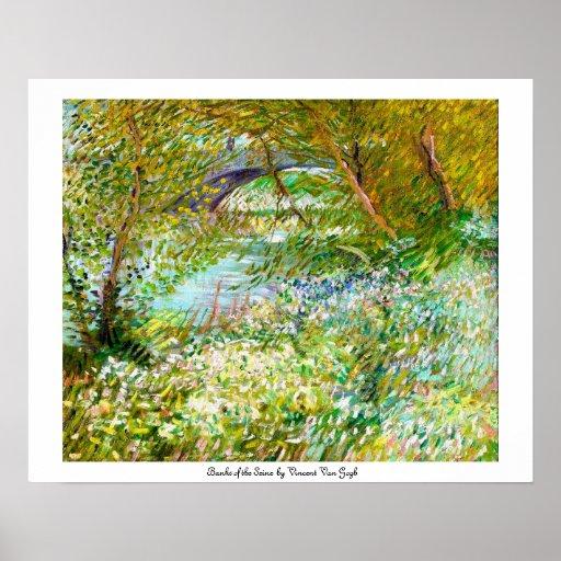 Bancos de la pintura del Sena Pont Clichy Van Gogh Póster