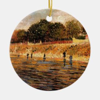 Bancos de Van Gogh de río Sena, bella arte del Adorno Navideño Redondo De Cerámica
