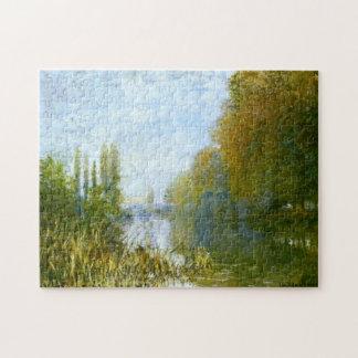 Bancos del Sena en bella arte de Monet del otoño Puzzle Con Fotos