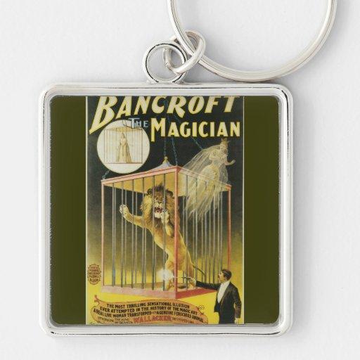 Bancroft el mago c 1897 llavero cuadrado plateado