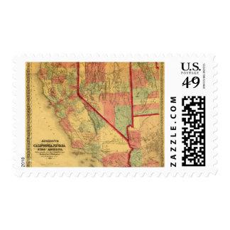 Bancroft's Map Of California, Nevada, Utah Postage