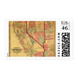 Bancroft's Map Of California, Nevada, Utah Stamps