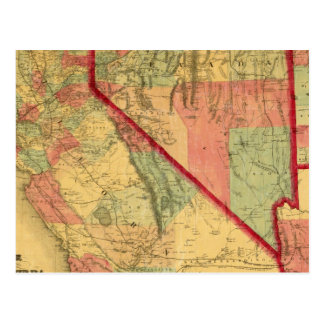 Bancroft's Map Of California, Nevada, Utah Postcard