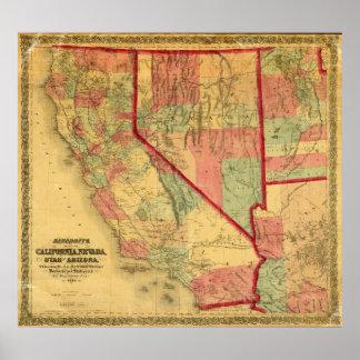 Bancroft's Map Of California, Nevada, Utah Poster