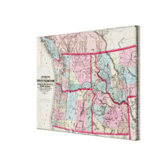Bancroft's Map Of Oregon, Washington, Idaho Canvas Print