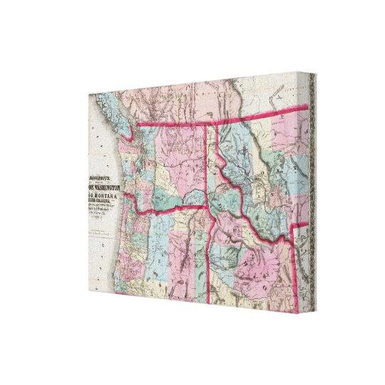 Bancroft's Map Of Oregon, Washington, Idaho Canvas Print