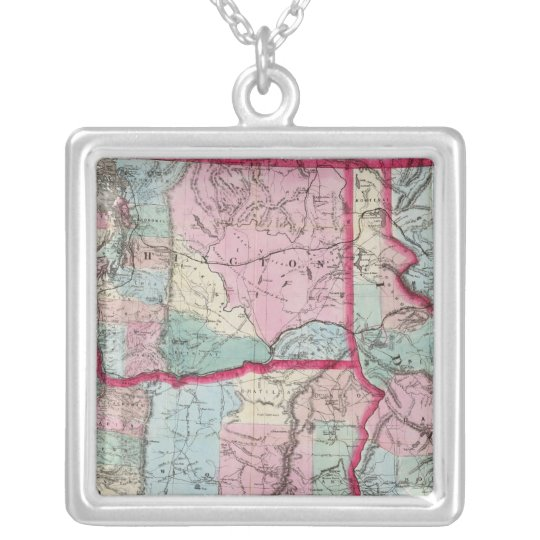 Bancroft's Map Of Oregon, Washington, Idaho Silver Plated Necklace