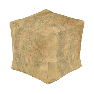 Bancroft's Map Of The Pacific States Cube Pouf