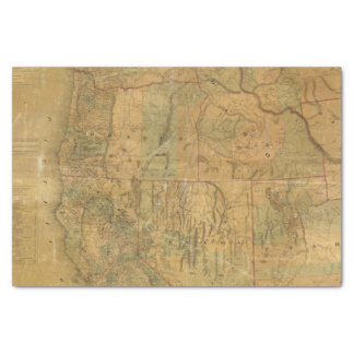 """Bancroft's Map Of The Pacific States 10"""" X 15"""" Tissue Paper"""