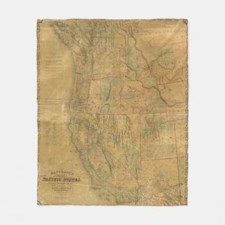 Bancroft's Map Of The Pacific States Fleece Blanket