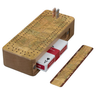 Bancroft's Map Of The Pacific States Wood Cribbage Board
