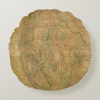 Bancroft's Map Of The Pacific States Round Pillow