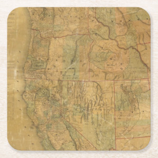 Bancroft's Map Of The Pacific States Square Paper Coaster