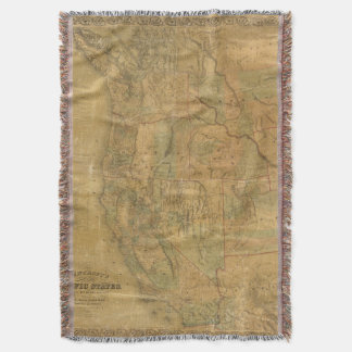 Bancroft's Map Of The Pacific States Throw Blanket
