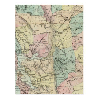 Bancroft's New Map Of Central California Postcard