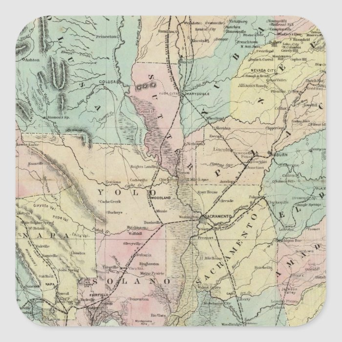 Bancroft's New Map Of Central California Square Sticker