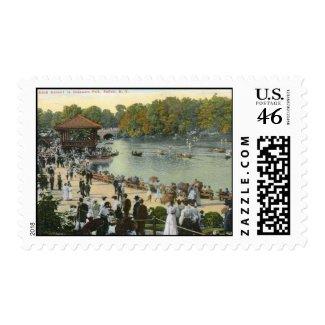 Band Concert, Delaware Park, Buffalo 1911 Vintage stamp