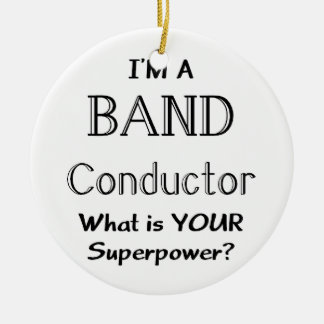 Band conductor Double-Sided ceramic round christmas ornament