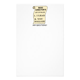 Band Director's List Of Rules Stationery