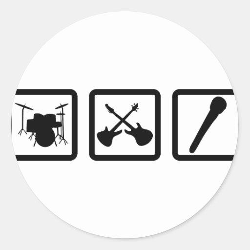 band gear drum guitars mic round sticker