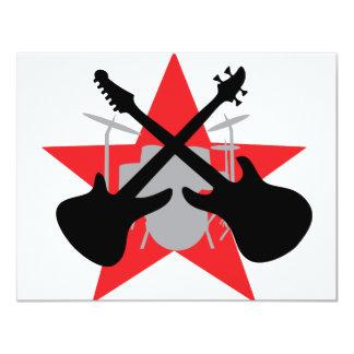 band guitar drum star 4.25x5.5 paper invitation card