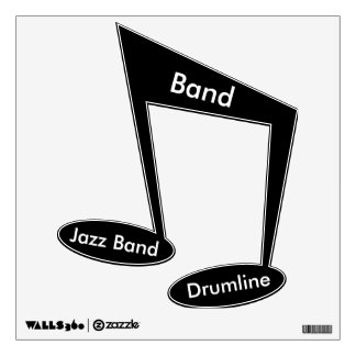 """Band"" ""Jazz"" & ""Drumline"" on Eighth Notes Wall Decal"