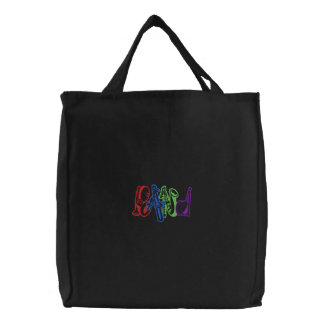 """band"" Letters Embroidered Tote Bag"