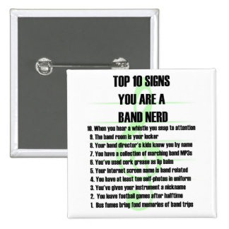 Band Nerd Top 10 2 Inch Square Button