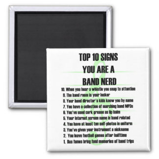 Band Nerd Top 10 2 Inch Square Magnet