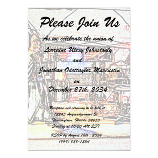 band on stage colored pencil music themed design 5x7 paper invitation card