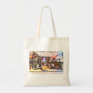 band on stage colored pencil music themed design tote bags