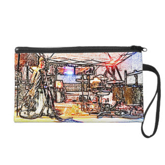 band on stage colored pencil music themed design wristlet