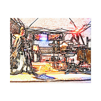 band on stage colored pencil music themed design stretched canvas prints
