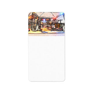 band on stage colored pencil music themed design custom address label