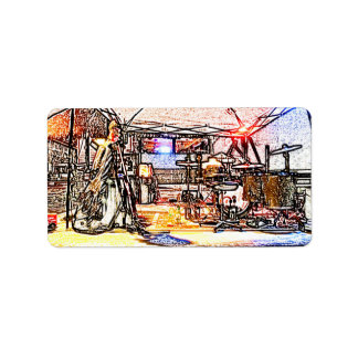 band on stage colored pencil music themed design labels