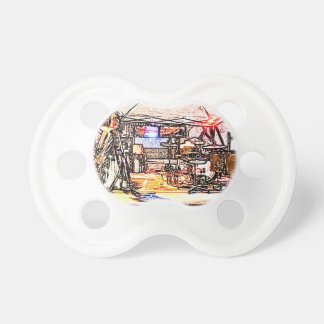 band on stage colored pencil music themed design pacifier