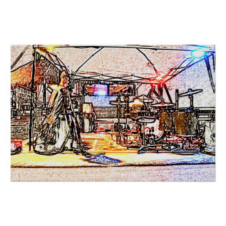 band on stage colored pencil music themed design posters