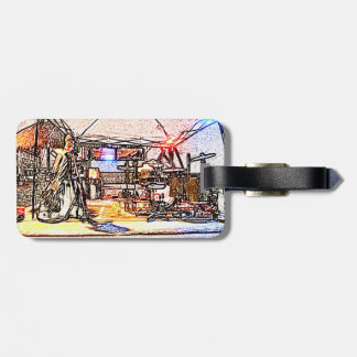 band on stage colored pencil music themed design tag for luggage