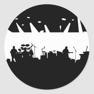 Band On Stage Concert Silhouette B&W Classic Round Sticker