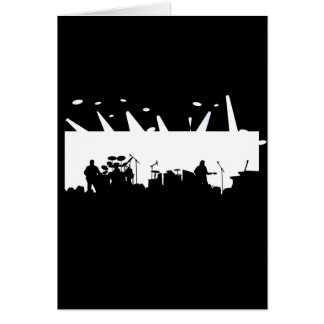Band On Stage Concert Silhouette B&W Greeting Card