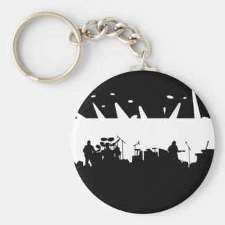 Band On Stage Concert Silhouette B&W Keychain
