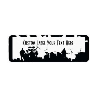 Band On Stage Concert Silhouette B&W Custom Return Address Labels