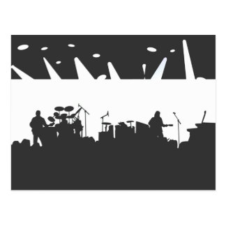 Band On Stage Concert Silhouette B&W Postcard